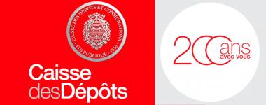 Logo sur fond rouge de la caisse des dépots