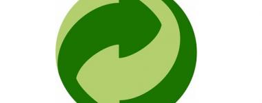 Logo du développement durable, vert à deux tonalités, présentant une flèche tournante et ascendante