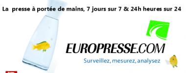 Image numérique composée du logo europress et de la mascotte de la base de données: un poisson jaune à nageoires vertes . Texte: la presse à portée de mains, 7 jours sur 7 et 24 heures sur 24.