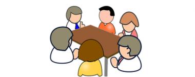 Image numérique présentant 6 personnages autour d'une table rectangulaire marron