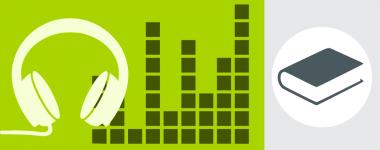 Icones de casque d'écoute sur fond vert