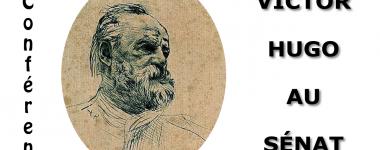 Affiche de la conférence sur fond blanc, avec une gravure- portrait de Victor Hugo en médaillon.