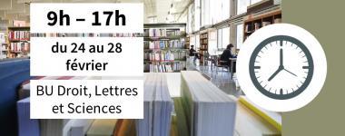 horaires 9h - 17h BU Orléans Droit, Sciences et Lettres
