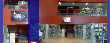 2 photographies de la salle de la bibliothèque avec l'écran dynamique sur fond bleu profond.