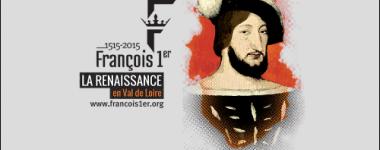Affiche de l'évènement, fond gris, portrait numérique du roi à droite et texte à gauche. François 1er la renaissance en Val de Loire