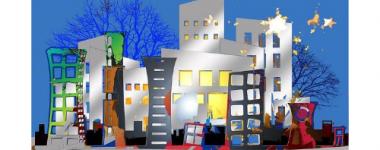 Image numériquecolorée, ville éclairée,jeux de lumières, arbres et étoiles.