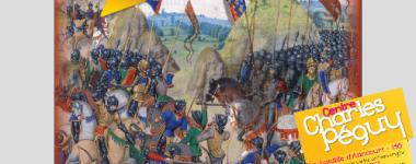 Extrait visuel de l'affiche de l'exposition présentant une enluminure de la bataille d'Azincourt, texte en lettres blanches et roses sur fond jaune
