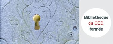 Photographie d'une serrure recouverte de givre, texte; Bibliothèque du CES fermée