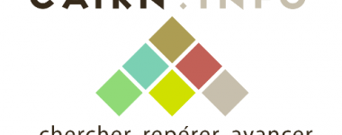 Logo de Cairn, composé de 6 carrés de couleurs pastel, agencés de telle sorte qu'ils forment un triangle pointe en haut. En dessous figurent les mots: chercher, repérer, avancer.