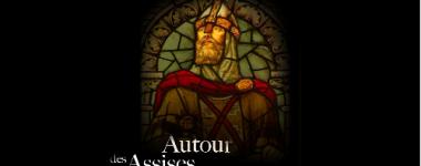 Sur le fond noir de l'affiche se détache l'image d'un vitrail représentant Geoffroi de Bouillon en costume solennel.
