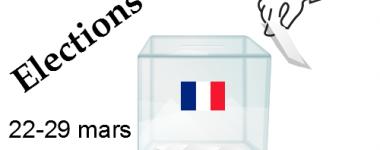 Image numérique, urne transparante avec drapeau tricolore et main s'apprêtant à disposer un bulletin dans l'urne