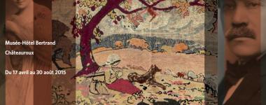 Visuel de l'exposition, photographie de Fernande Maillaud à gauche et de Fernand à droite de l'image. Le centre est occupé par la photographie d'une de leur oeuvre présentant une bergère assise sous un arbre au premier plan d'un paysage.