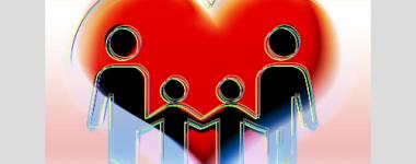 image numérique composée d'un coeur rouge sur lequel se détache une famille de 4 personnes (silhouettes noires aux contours colorés)