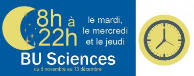 BU sciences ouverte de 8h à 22h 3 soirs par semaine