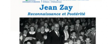 Affiche du colloque avec une photographie de Jean Zay entouré d'enfants.Les caractères d'imprimerie au-dessus de la photographie sont en bleus.