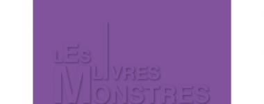 """Images fond violet-mauve avec écritures ombrées et jeux de taille de caractères d'imprimerie """"les livres monstres"""""""
