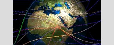 image numérique de la terre avec des filaments de couleurs