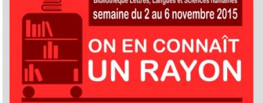 """Affiche sur fond rouge présentant l'image d' un chariot de bibliothèque avec des livres et le texte """" on en connaît un rayon""""< mesure de la consultation sur place des documents"""