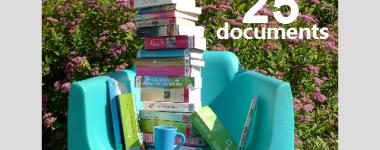 Photographie d'une vingtaine de livres sur un fauteuil turquoise sur fond de bosquet fleuri. Lumière ensoleillée