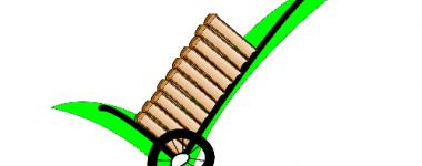 Image numérique: chariot de livraison chargé d'une pile de livre,à l'arrière plan un signe topographique vert en forme de coche.